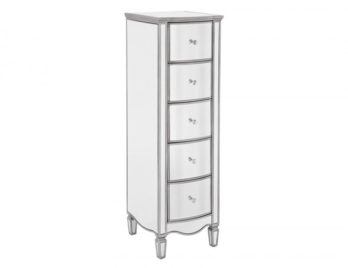 Elysee Narrow 5 Drawer Mirrored Chest