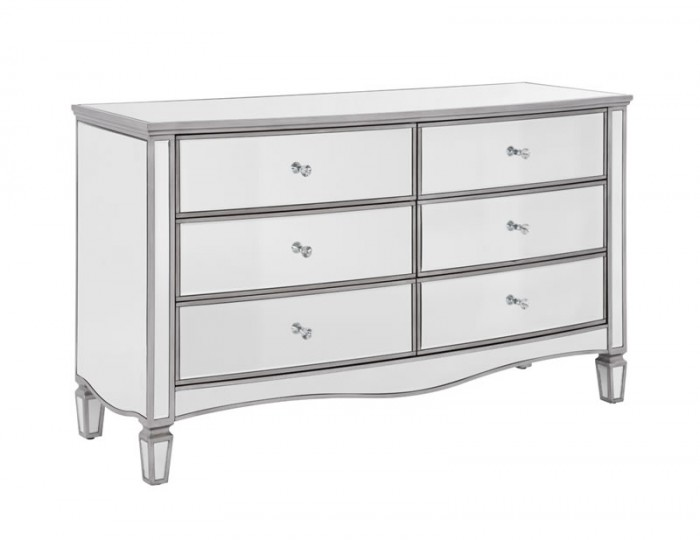 Elysee Wide Mirrored 6 Drawer Chest