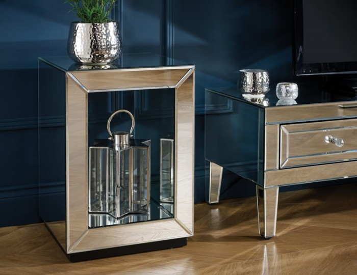 Valencia Mirrored Lamp Table