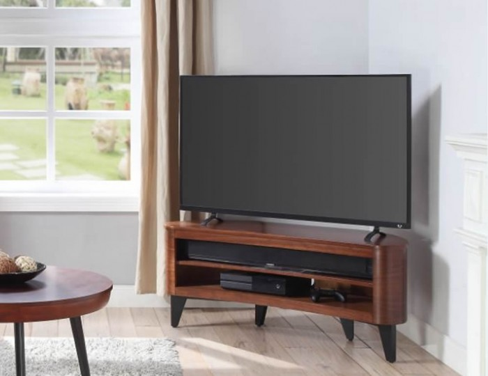Zennor Walnut Acoustic Curve TV Stand