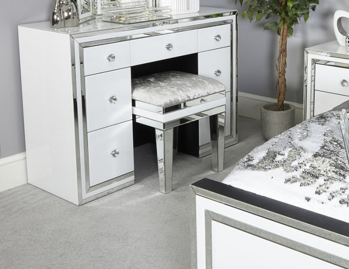 Hartford White Mirrored 7 Drawer Dressing Table