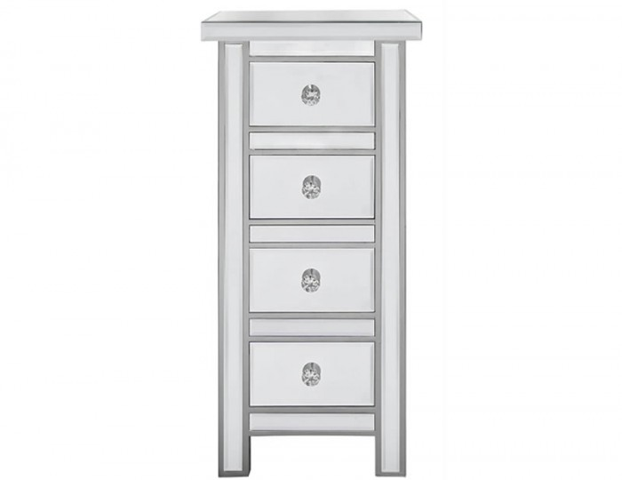 Anthony Narrow Mirrored 4 Drawer Chest
