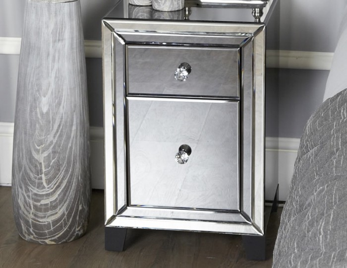 Estelle 2 Drawer Smoked Mirror Bedside Chest