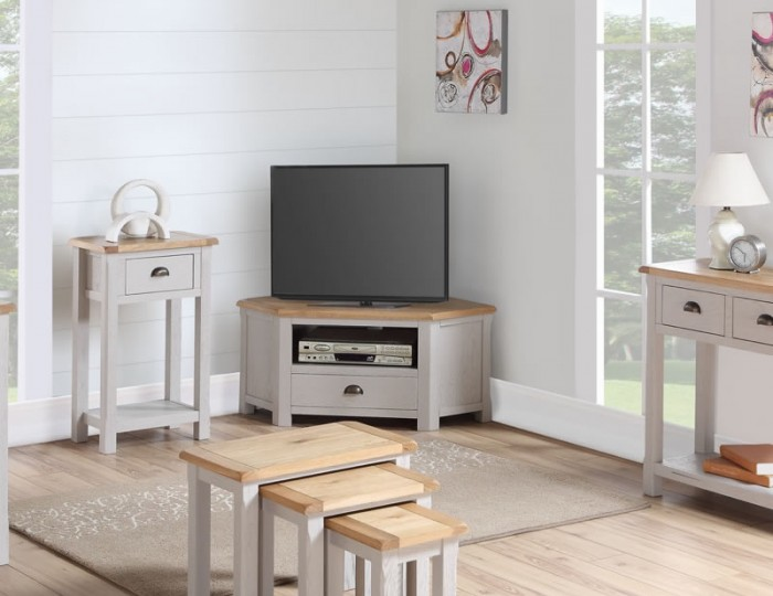 Kako Painted Oak Corner TV Stand