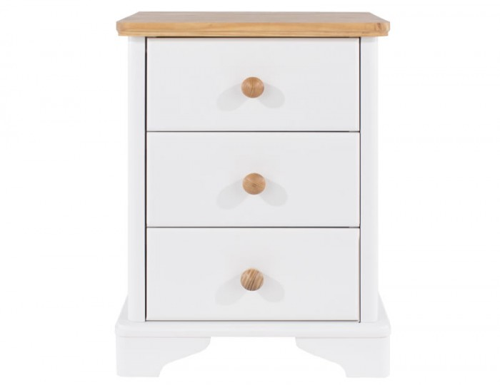 Wellington 3 Drawer White Painted & Oak Bedside Chest