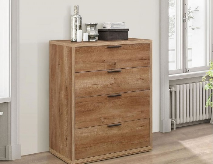Stockwell 4 Drawer Oak Effect Bedside Chest