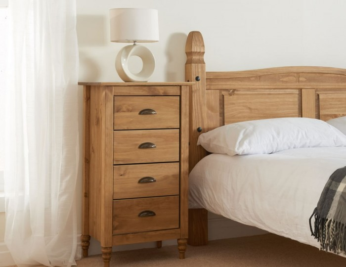 Peckinly Solid Pine 4 Drawer Narrow Chest