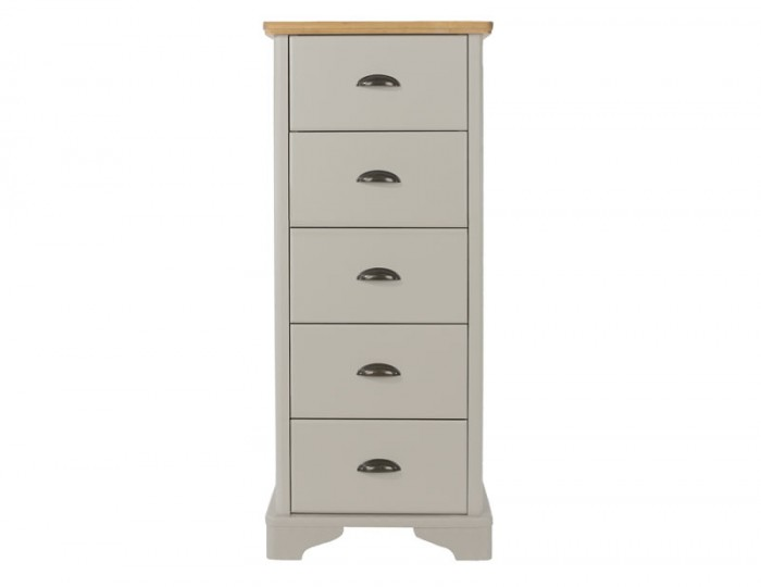 Salvador Grey Painted & Oak Narrow 5 Drawer Chest