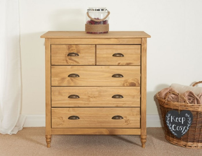 Peckinly Solid Pine 3 + 2 Drawer Bedside Chest