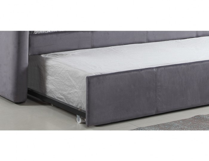 Laboury Grey Velvet Day Bed with Trundle