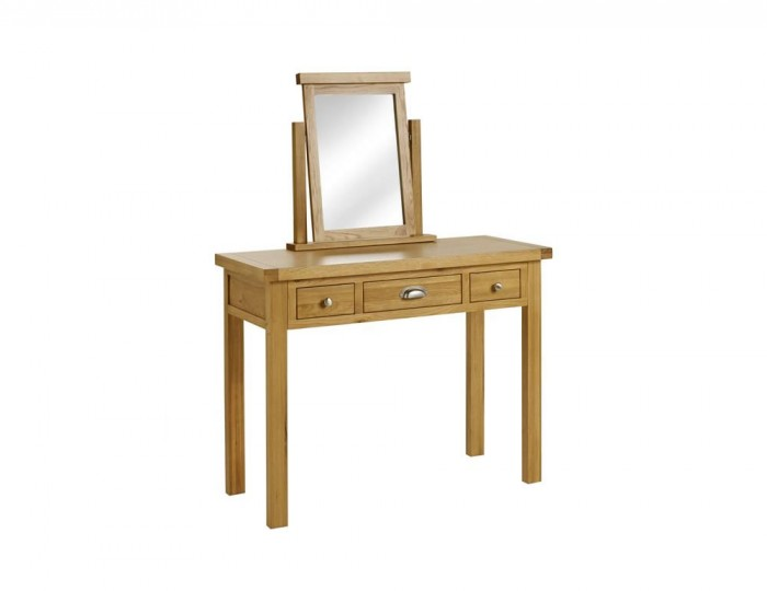 Akasey Solid Oak 3 Drawer Dressing Table