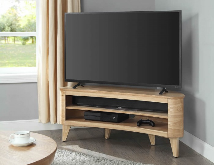 Zennor Oak Acoustic Curve TV Stand
