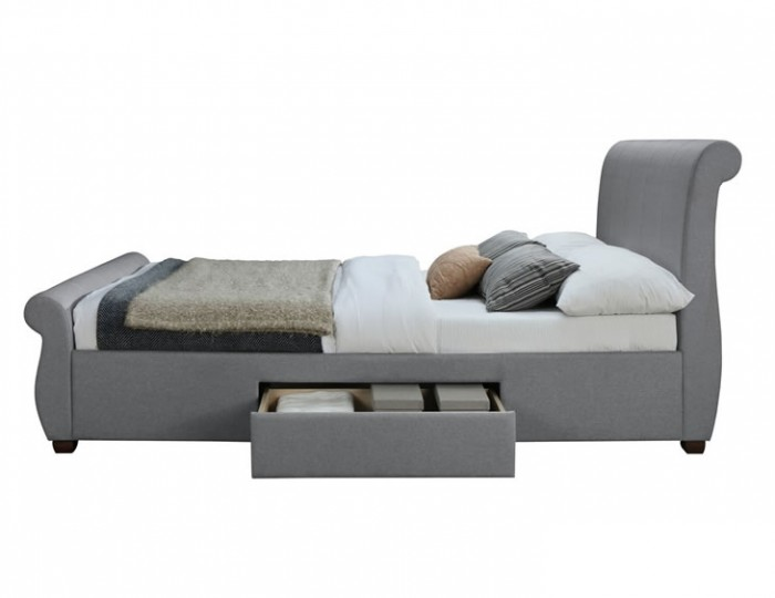 Ashton Grey Upholstered Sleigh Bed