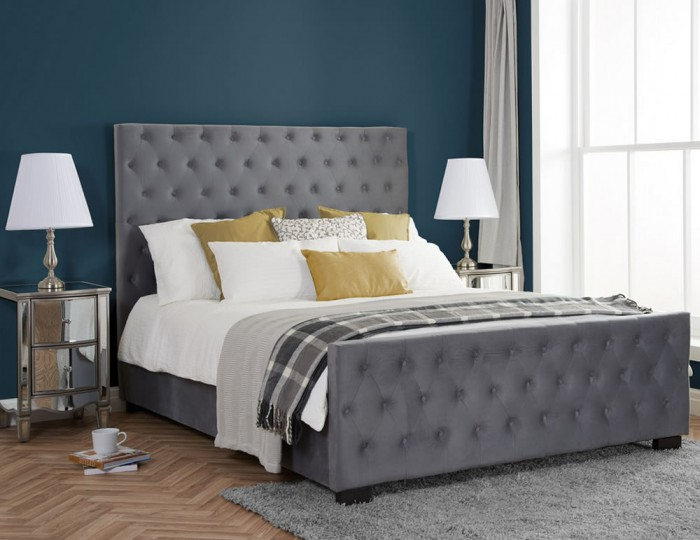 Epsom Grey Velvet Upholstered Bed