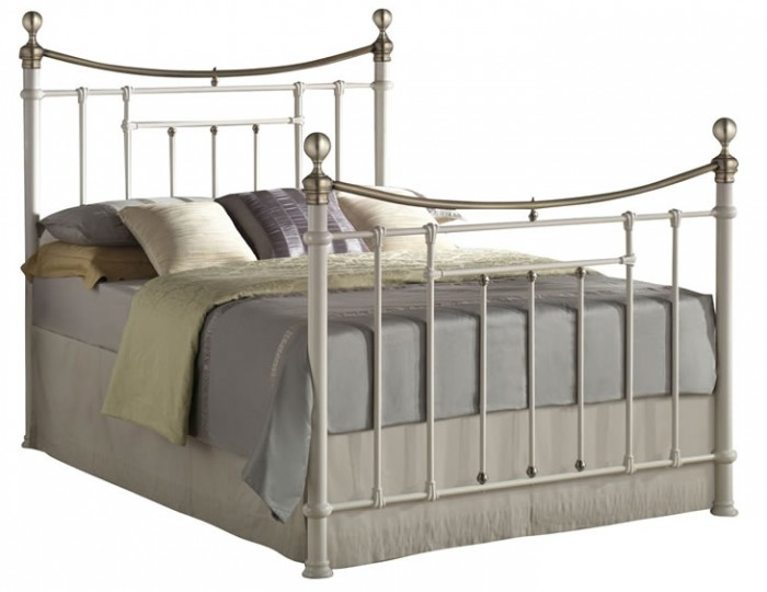 Bronx Cream and Brass Metal Bed