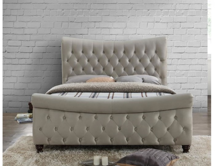 Denmark Warm Stone Upholstered Sleigh Bed
