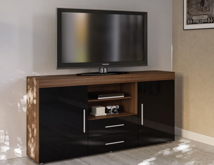 Nightingale Black and Walnut Large Sideboard