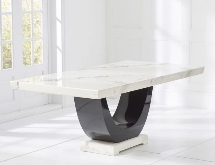 Marcio White and Black Marble Dining Table