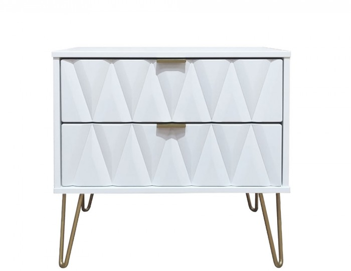 Marilyn Diamond Wide 2 Drawer Bedside Chest