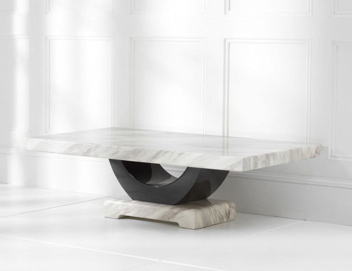 Abilio Cream and Black Marble Coffee Table