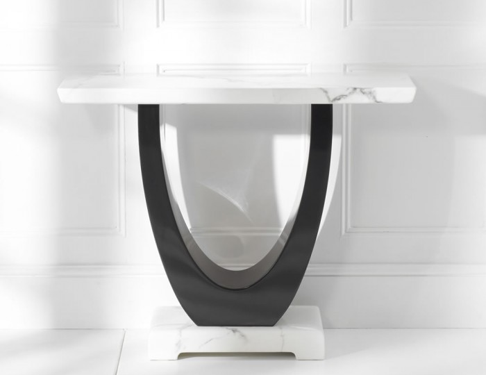 Marcio White and Black Marble Console Table