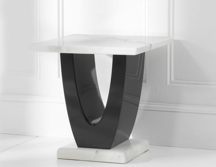 Marcio White and Black Marble Lamp Table