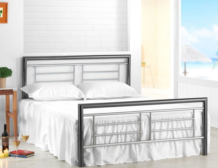 Hannah Chrome and Nickel Metal Bed Frame