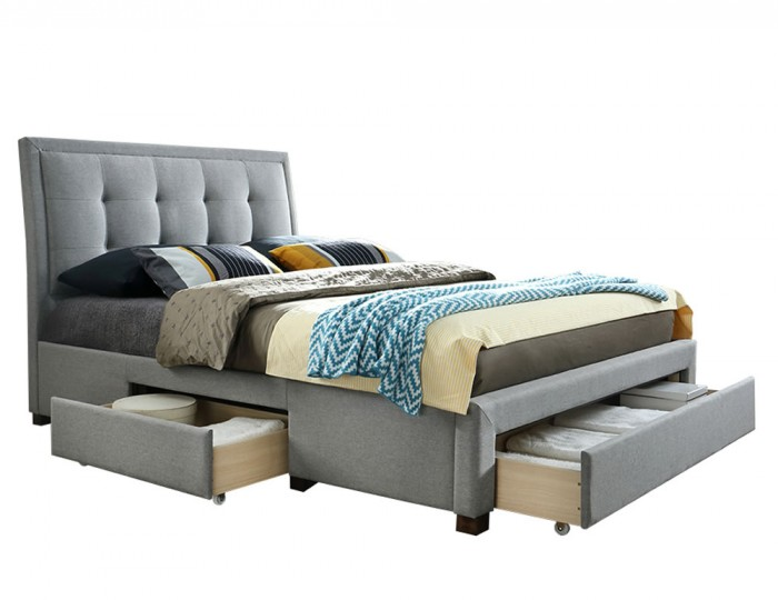 Carroll Grey Upholstered Storage Bed Frame