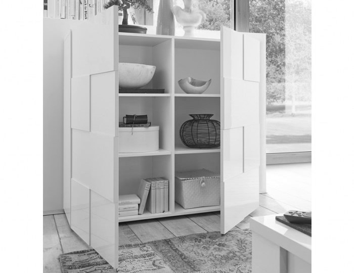 Dama 2 Door Grey High Gloss Storage Unit *Special Offer*