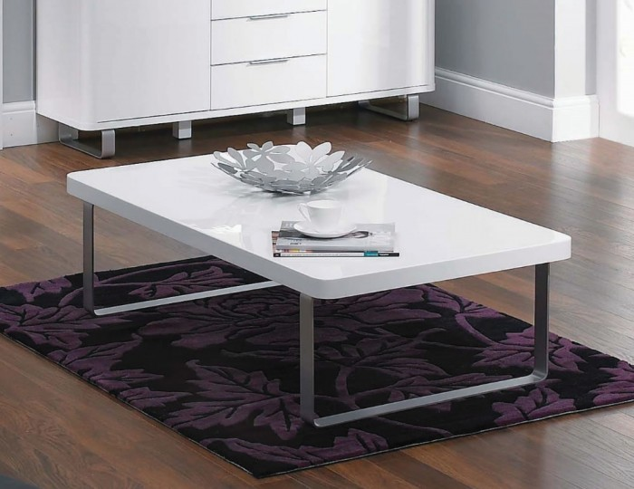 Mya White High Gloss Coffee Table Metal Legs Uk Delivery