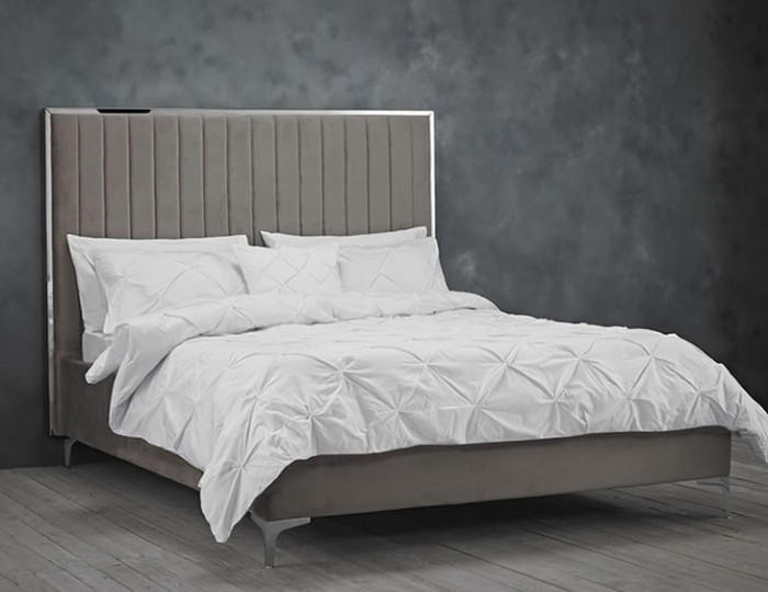 Leala Mink Grey Upholstered Bed