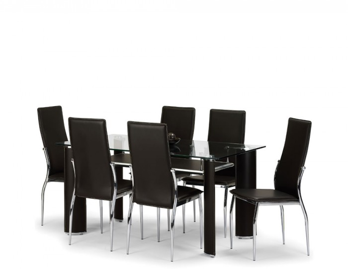 Dallas Glass and Brown Faux Leather Dining Table and Chairs