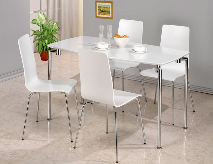 Dove White Rectangle Dining Table and Chairs