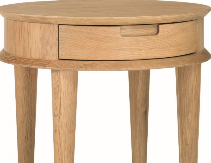 Orbit Oak Lamp Table with Drawer