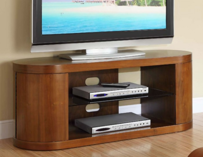 Zennor Curved Walnut and Glass TV Cabinet