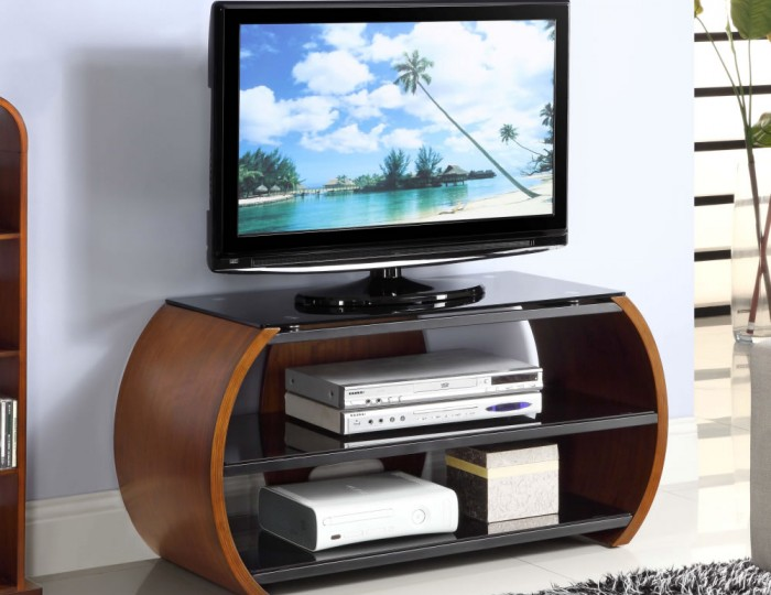 Zennor Curved Walnut and Glass TV Stand