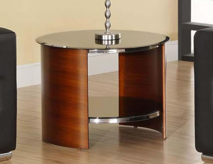 Round walnut and glass lamp table zennor round walnut and glass lamp table aloadofball Gallery