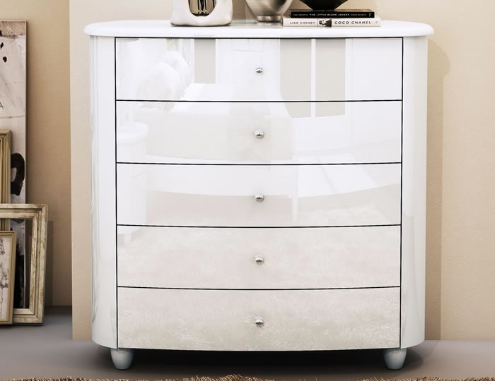 Genova White High Gloss 5 Drawer Wide Chest