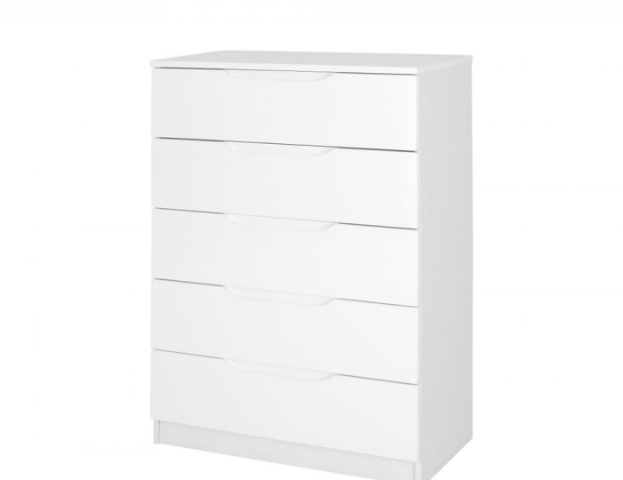 Trend 5 Drawer White High Gloss Chest