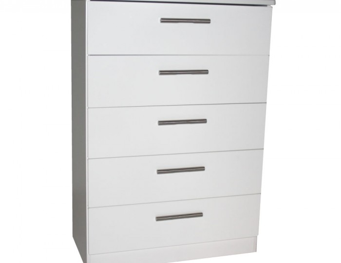 Queen 5 Drawer White High Gloss Chest