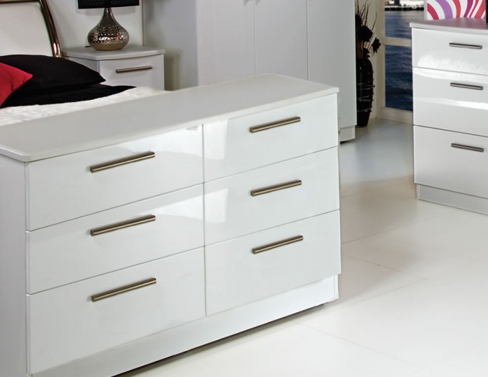 Queen 6 Drawer Wide White High Gloss Chest - Assembled