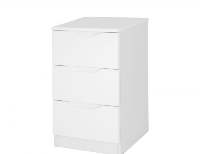 Trend 3 Drawer White High Gloss Bedside Chest