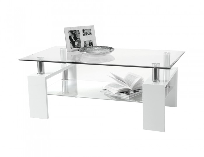 Parma Glass And White High Gloss Coffee Table 60w X 100l X 38h Cm
