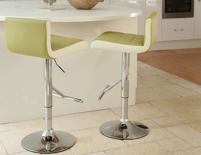 Homestead Lime with White Gas Lift Bar Stool