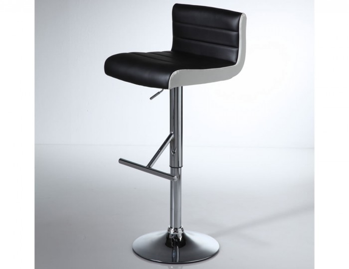 Homestead Black with White Gas Lift Bar Stool