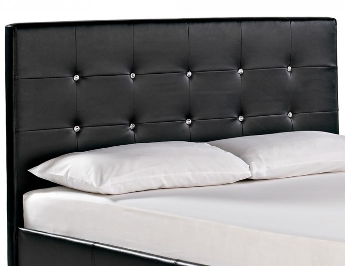Diamond Black Faux Leather Bed