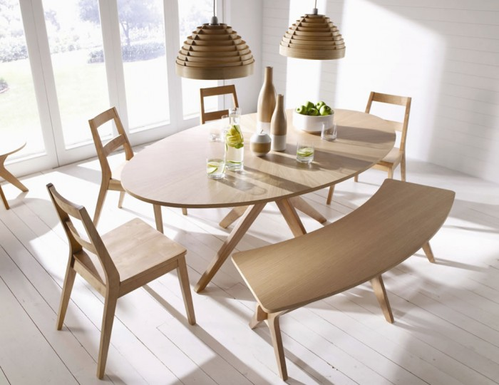 Laxa Oval Oak Dining Set With Chair And Bench Options