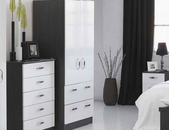 Tempo 2 Door High Gloss Wardrobe with Drawers