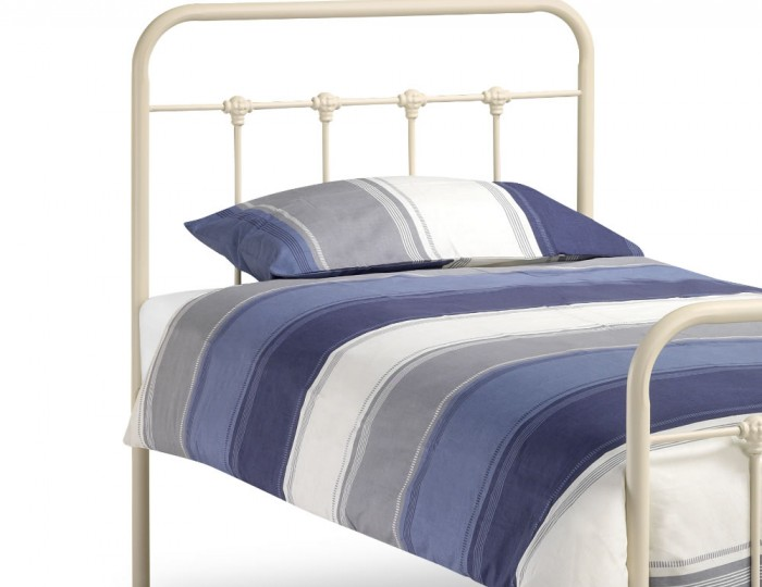 Brinsley Childrens Stone White Metal Bed
