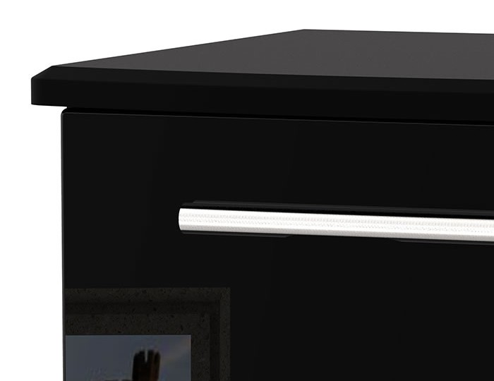 Knight 2 Drawer Black High Gloss Bedside Chest
